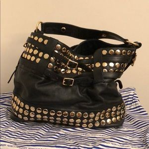 Rebecca Minkoff gold studded large hobo bag